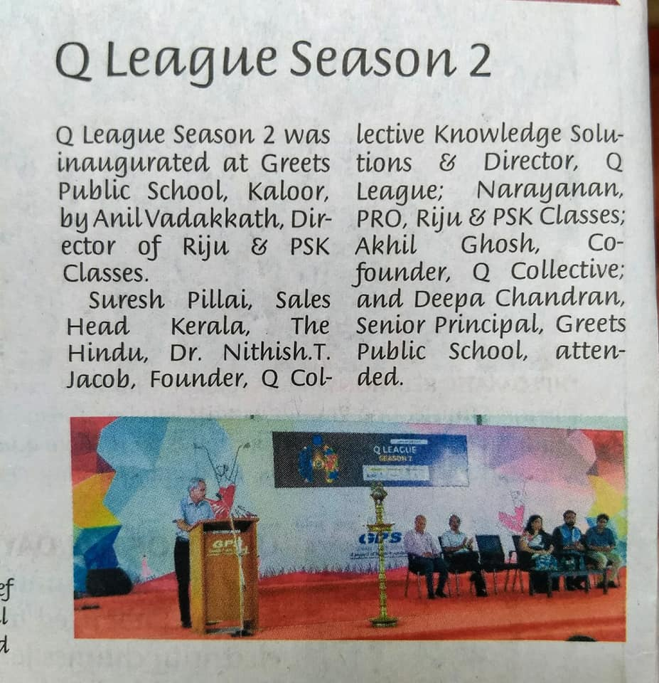 Q League Season 2 School edition inauguration coverage, The Hindu