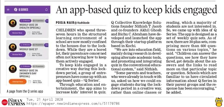 Q Series, The New Indian Express coverage 21 April 2020