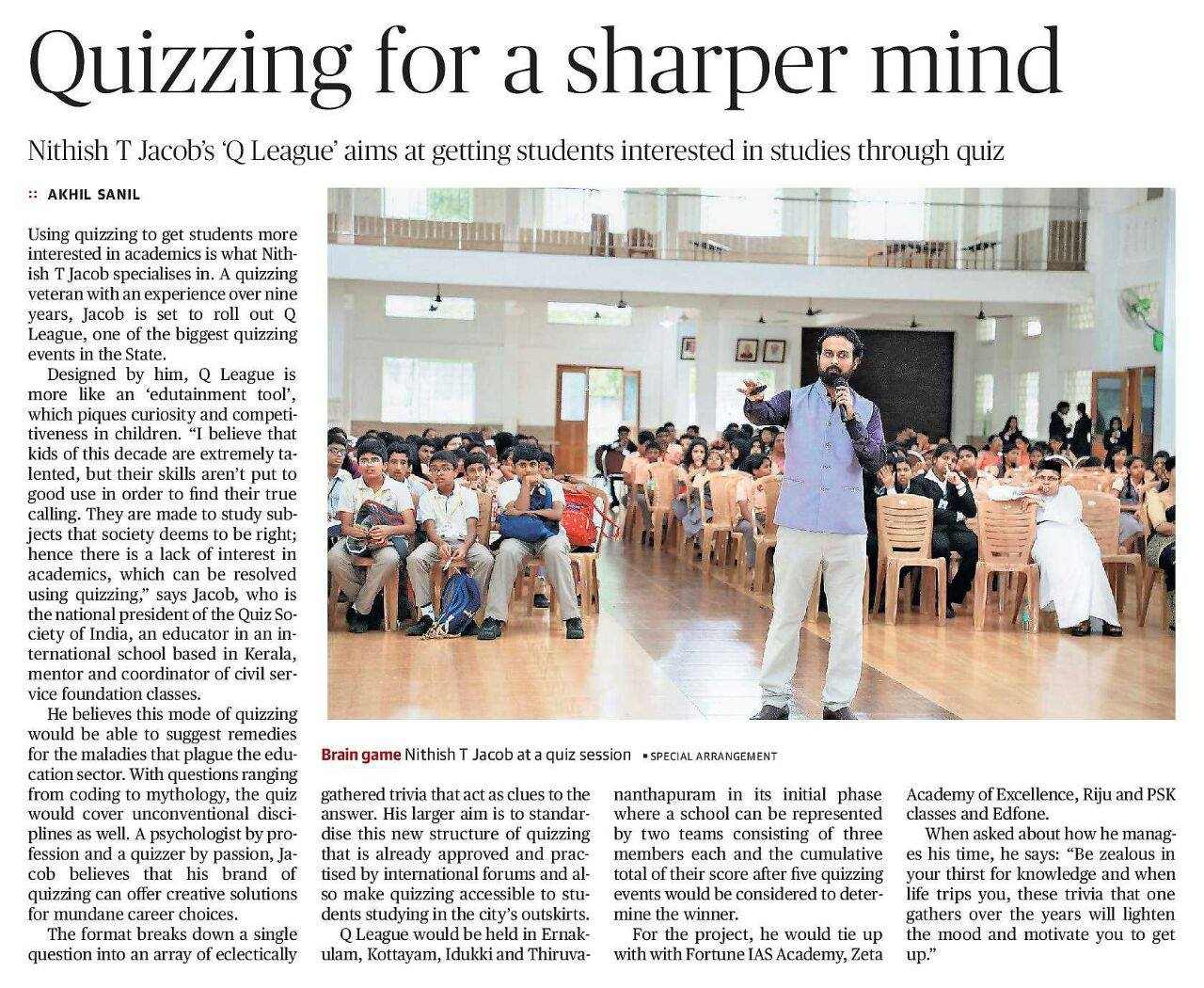 Quizzing for a sharper mind- The Hindu