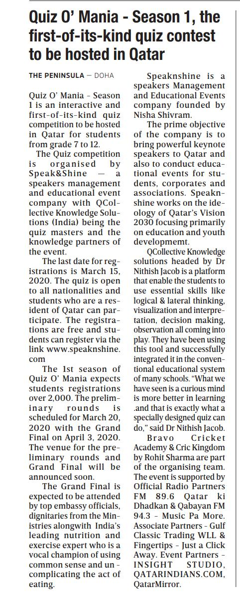 News article about Quiz O' Mania in the Qatar newspaper The Peninsula