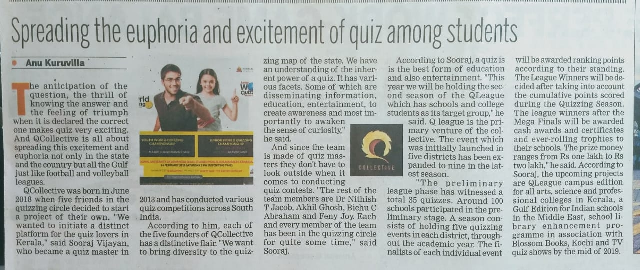 Article on Q Collective focusing World Quiz Championship 2018, The Indian Express